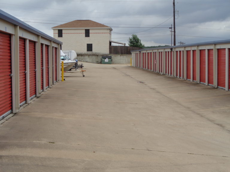 Exterior row of storage units.