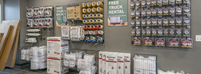 packing and moving supplies in a self storage facility office