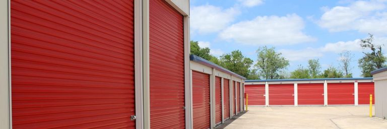 Large and smaller drive-up storage units.