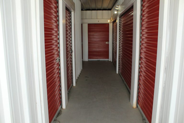 Interior hallway with storage units.