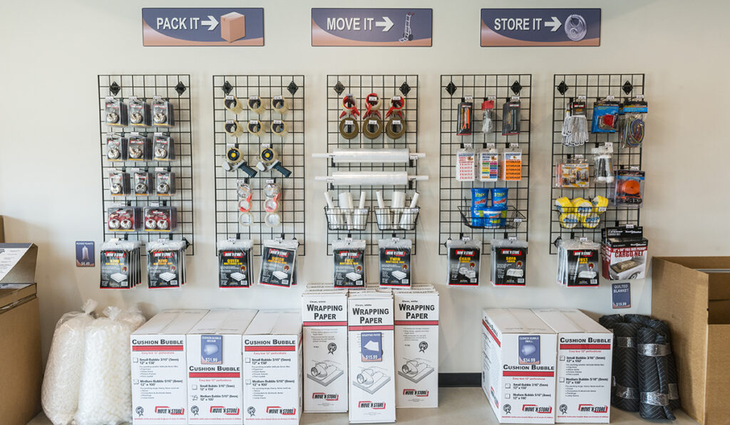 Packing supplies available for sale at a premium spaces location.