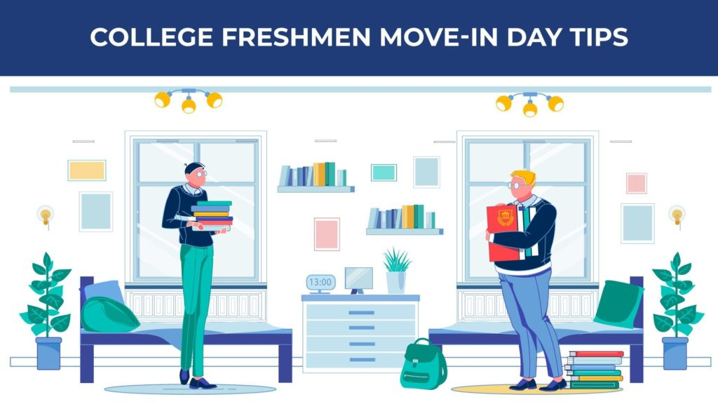 an illustration of two college freshmen standing in their dorm room holding stacks of books