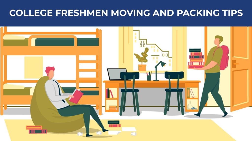an illustration of two students moving into a dorm room filled with furniture
