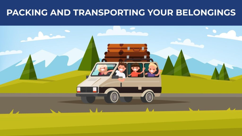 an illustrated car is packed with family and boxes on top
