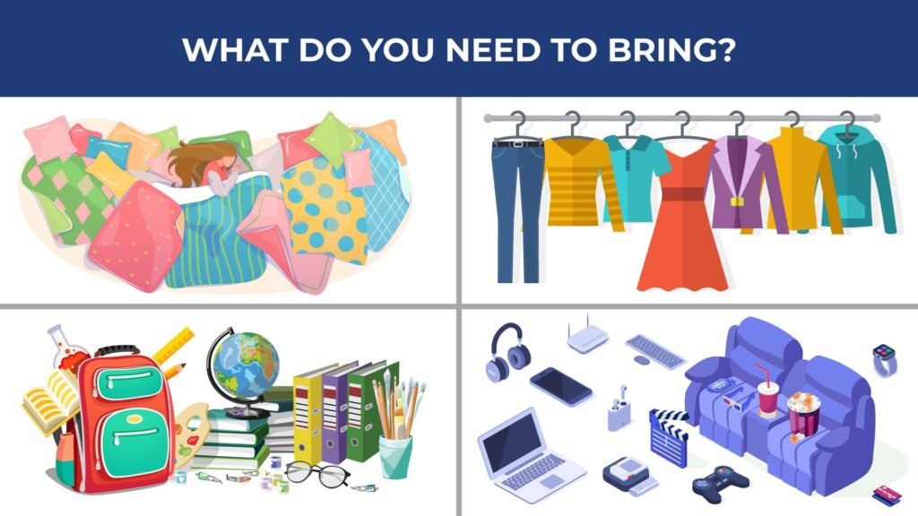an illustration of what freshmen need to bring to college: clothes, books, school supplies, entertainment, and bedding