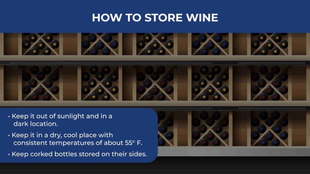 an illustration of wine bottles being stored on their sides