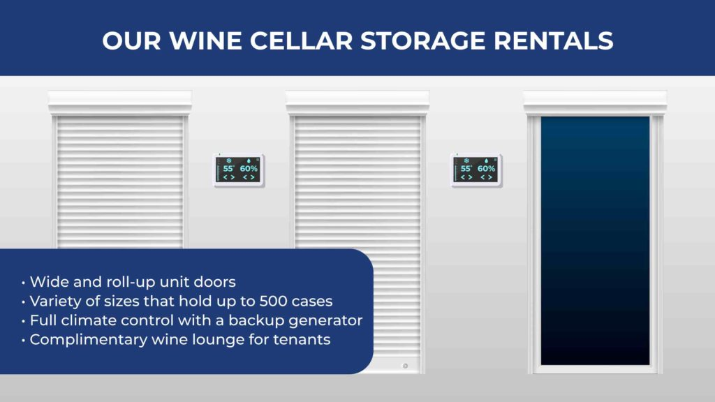 an illustration of a wine cellar storage unit with a digital temperature gauge