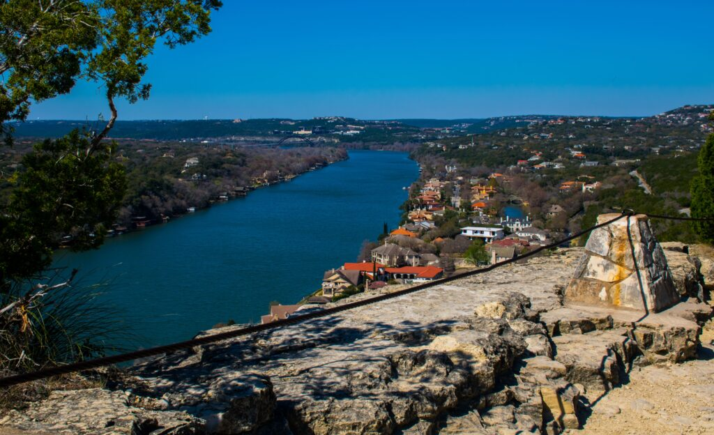 View from Mt. Bonnell overlooking Austin with the city skyline in the distance.